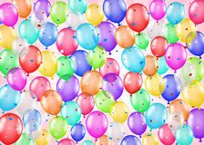 Group of colorful balloons and confetti background. A group of colorful balloons and confetti background Royalty Free Stock Image