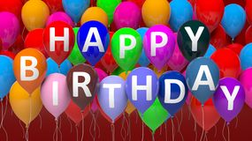 Group of colorful balloons with Happy Birthday. Text Stock Images