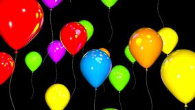 Group of Colorful Balloons Isolated over Black Background.