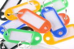 Group of colorful blank key tags Stock Photo