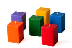 Group of colorful candles isolated in white backgr Stock Photo