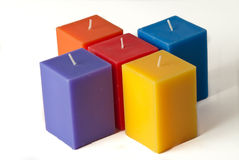 Group of colorful candles isolated in white backgr Stock Photos