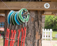 Group of colorful carabiners climbing equipment and safety objec Stock Image