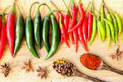 Group of colorful chili put on wooden isolated Stock Images