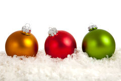 A group of colorful Christmas Baubles on White Royalty Free Stock Photography
