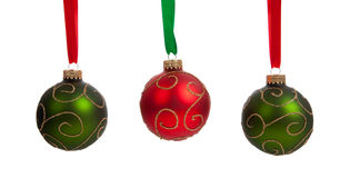 A group of colorful Christmas Baubles on White Royalty Free Stock Image
