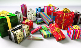 Group of  colorful Christmas gifts. Group of colorful Christmas presents Royalty Free Stock Photos