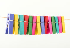 Group colorful clothespin Stock Images