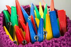 Group of Colorful Clothespins Stock Photos