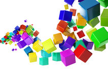 Group of colorful cubes flying. 3d illustration: abstract idea. Group of colorful cubes flying in the air Stock Illustration