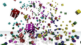 Group of colorful dices isolated on white. A large group of colorful dices isolated on white Stock Photos
