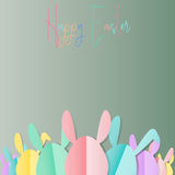 Group of colorful Easter bunnies with happy easter text on white background, paper cut style design by Vector illustration. EPS 10 royalty free illustration