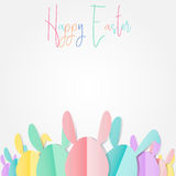 Group of colorful Easter bunnies with happy easter text on white background, paper cut style design by Vector illustration. EPS 10 vector illustration