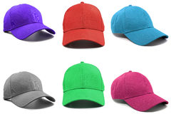 Group of the colorful fashion caps. Isolated on white background stock photo