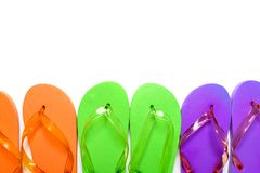 Colorful flip flop sandals isolated on white background. Top view royalty free stock photo