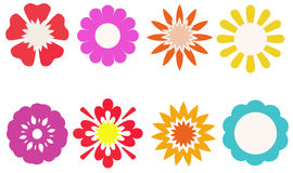 Group of colorful flower for decorated, stickers, labels, tags, Royalty Free Stock Photography