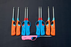 Group of colorful Gas lighter gun for gas-stove. Stock Photo