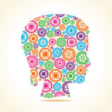 Group of colorful gears make a female face Stock Photography