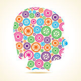 Group of colorful gears make a female face Stock Image