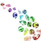 Colorful gemstones isolated. Group of colorful gemstones isolated over white Stock Photo