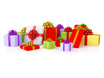 Group of colorful gift boxes with festive bows. Group of colorful gifts. A varicoloured boxes with a festive bows. XXXL size image isolated on white Royalty Free Stock Image