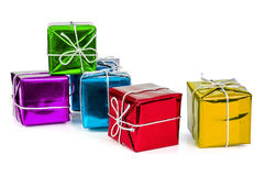 Group of colorful gift boxes with silver ribbons Royalty Free Stock Images