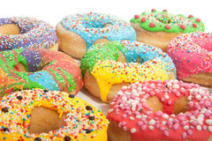 A group of colorful glazed donuts Royalty Free Stock Photography