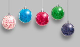 Group of colorful hanging ornaments. Group of colorful hanging plastic balls ornaments Royalty Free Stock Images