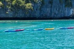 Group of colorful kayaks floting on andaman sea Stock Photo