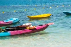 Group of colorful kayaks floting on andaman sea Stock Image