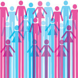 Group of colorful male and female icon background Stock Photos