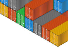 Group of colorful metal freight shipping containers on white Royalty Free Stock Photo