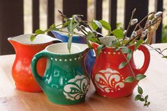 Group of colorful mugs Royalty Free Stock Image