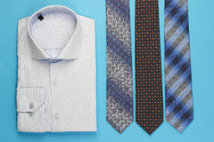 Group of colorful neckties and shirt Royalty Free Stock Photography