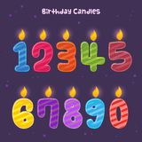 Group of Colorful Numbers Birthday Candles Royalty Free Stock Images