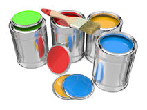 Group of Colorful Paint Cans with Paintbrush. Stock Photo
