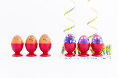 Easter party with crazy eggs Royalty Free Stock Photo