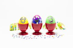 Easter party with crazy eggs Royalty Free Stock Image