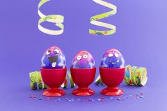 Easter party with crazy eggs Stock Image