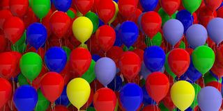 Colorful balloons background. 3d illustration Stock Images