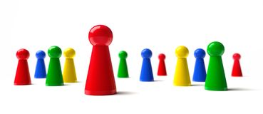 Group of colorful pawns 3D illustration stock illustration