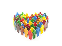 Group of colorful people figures in the shape of a heart