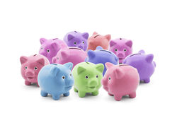 Group of colorful piggy banks Stock Images