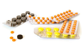 Group of colorful pills Royalty Free Stock Photo