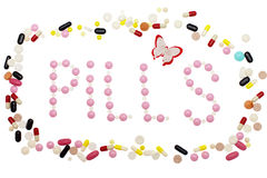 Group of colorful pills Stock Images