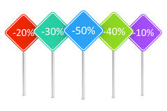 Group of colorful rectangle road signes with discount percents text Stock Photo