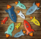 Group of Colorful Rocketship Symbols Concept.  Stock Images
