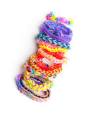 Group of colorful rubber band bracelets isolated on white Royalty Free Stock Photos