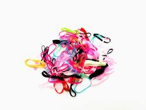 Group of colorful rubber bands isolated on white background. royalty free stock photography