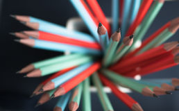 Group of colorful sharp pencil. Selective focus Royalty Free Stock Photos